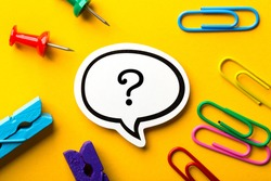 Question Mark Speech Bubble paper is isolated on the yellow background.