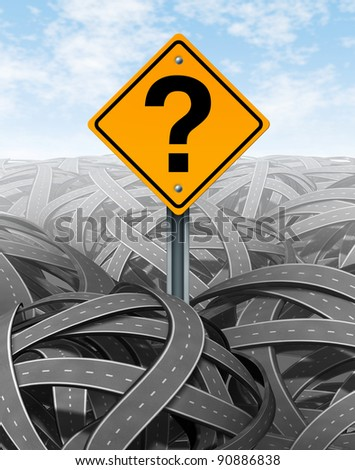 Question mark strategy in face of difficult problems searching for solutions and success with clear vision and answers to a new strategic plan to navigate and manage over a maze of roads and highways.