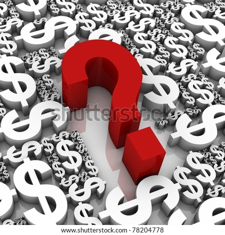 Question mark surrounded by dollar currency symbols. Part of a series.