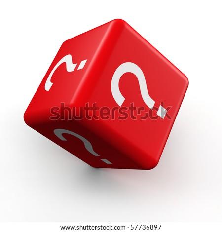 Question mark symbol dice rolling 3d illustration