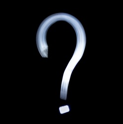 Question mark Symbol Icon Using Light Painting Technique isolated over black Background