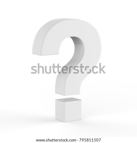 Question mark symbol on isolated white background, 3d illustration