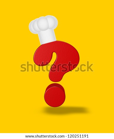 question mark with cook hat - 3d illustration