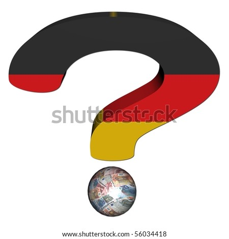 question mark with German flag and euros illustration