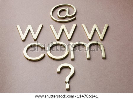 Question mark with internet symbols - stock photo