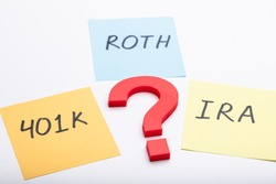 Question Mark With Text Of 401k, Roth And Ira