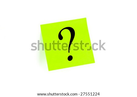 Question mark written on a note isolated on white
