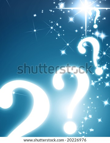 question marks ans glitters on a blue background