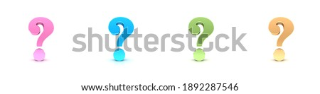 Question marks interrogation points rose blue green gold colored query sign 3d rendering Foto stock ©