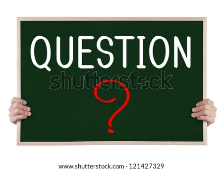 question on blackboard with hands