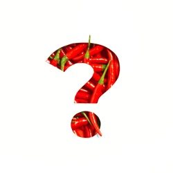 Question punctuation mark made of hot red chili peppers and cut paper isolated on white. Spicy veggie font