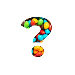 Question punctuation mark of colourful rainbow sweet candies and cut paper isolated on white. Typeface for festive