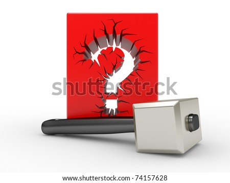 Question sign and mallet on a white background - stock photo