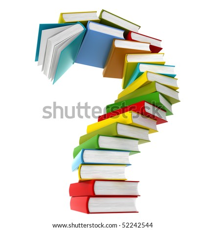 Question symbol from coloured books