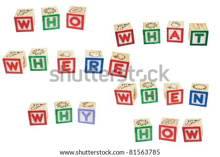 Question with Five W's One H, Who, What, Where, When, Why, How - stock photo