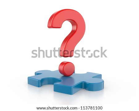 Question with puzzles. 3d image on a white background