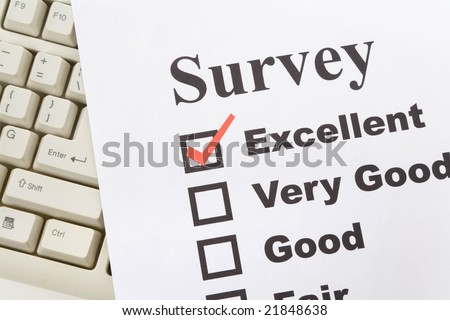 questionnaire and computer keyboard, business concept - stock photo