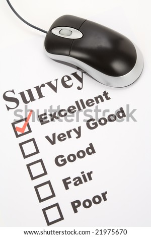 questionnaire and computer mouse, business concept