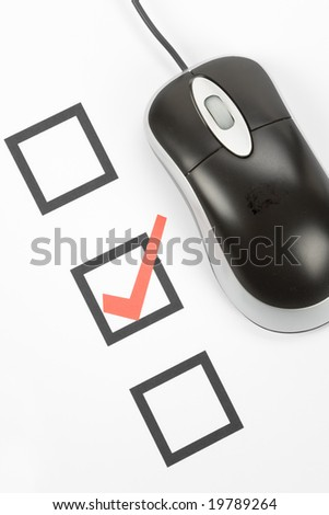 questionnaire and computer mouse, concept of online voting