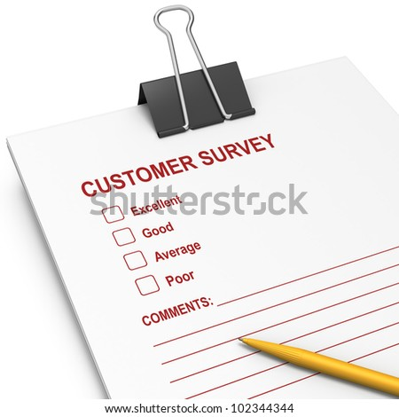 Questionnaire customer surveyt with yellow pen on white background