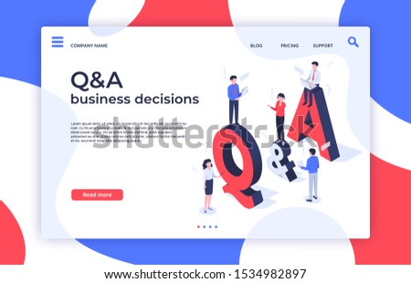 Questions and answers. Find decision, problem solving and QA business decisions landing page. Question quiz, debate ask answers info or answering faq help isometric  illustration
