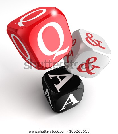 questions and answers red, white and black dice box on white background