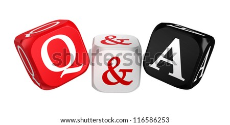 questions and answers red white black dice isolated on white background
