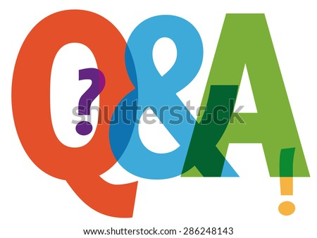 Questions and answers symbol - colorful letters