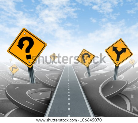 Questions and clear strategy for solutions in business leadership with a straight path to success choosing the right strategic plan with yellow traffic signs cutting through a maze of highways.