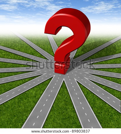 Questions and strategies symbol as a network of roads and highways merging to a center point with a red 3d question mark showing many options and paths as difficult choices and questioning decisions.