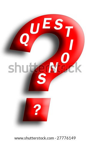 Questions concept embedded in a question mark isolated on white
