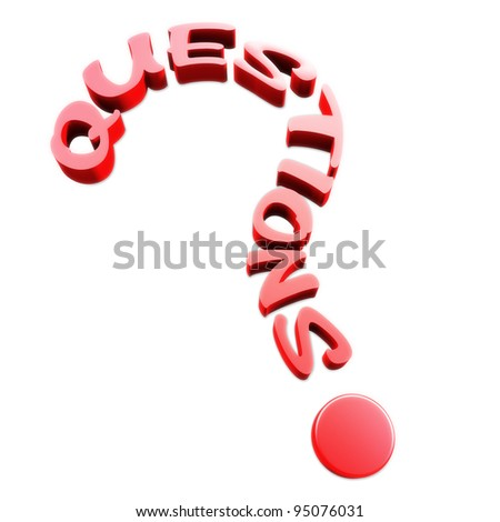Questions text in the form of a question mark