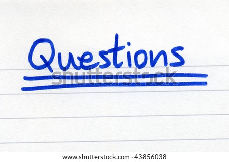Questions, written with blue ink on white paper.