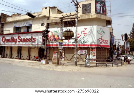 QUETTA, PAKISTAN - MAY 06: Shops seen closed during shutter down strike called by All Parties against changing in plan of Gwadar-Kashgar Trade Route construction, on May 06, 2015  in Quetta.