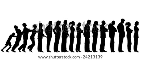 Queue of people silhouettes with boy pushing them like dominoes (vector file also available)