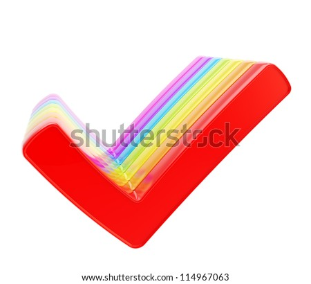 Queue row of colorful rainbow colored yes check ticks isolated on white background