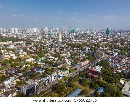 Quezon City skyline as seen from Libis . Distant districts of Cubao, North EDSA, etc. Stockfoto ©