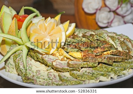 Quiche salad dish on a plate with decoration stock photo for Decoration quiche