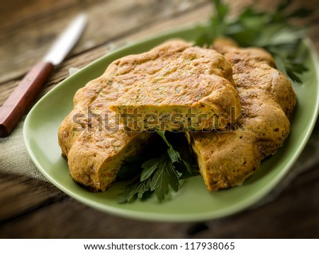 quiche with carrot and parsley,selective focus