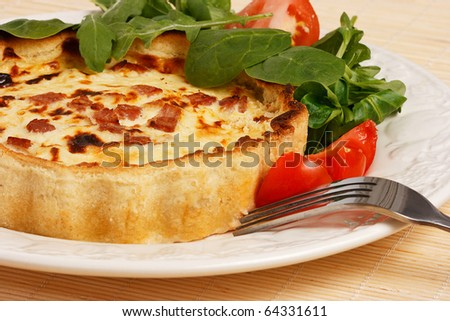 Quiche with Lettuce and tomato salad