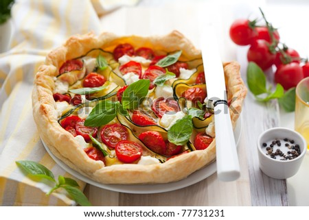 Quiche with tomato,zucchini and cheese with basil