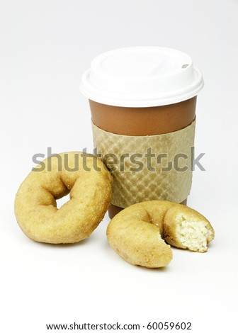 Quick breakfast of coffee and donuts