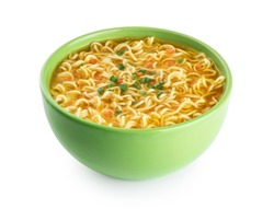 Quick chicken noodle Soup. Bowl of instant noodles isolated on white background. With clipping path.