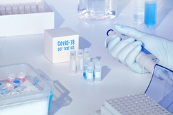 Quick novel coronavirus test kit. 2019 nCoV pcr diagnostics kit. Hand in glove with automatic pipette. RT-PCR kit to detect covid19 virus in clinical samples. Тest based on real-time PCR technology.