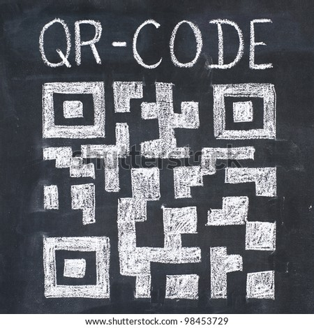 Quick Response Code (qr-code) on a blackboard, chalk drawing