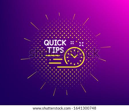 Quick tips line icon. Halftone pattern. Helpful tricks sign. Tutorials symbol. Gradient background. Quick tips line icon. Yellow halftone pattern.