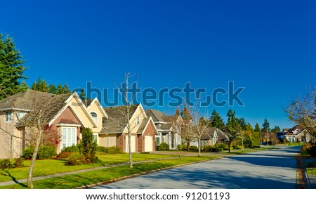 Quiet and comfortable neighborhood. Houses  in surburbs.  Vancouver, Canada
