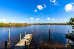 Quiet and relaxing view from the small dock at West Lake View Point, Everglades National Park, Miami-Dade, Florida.