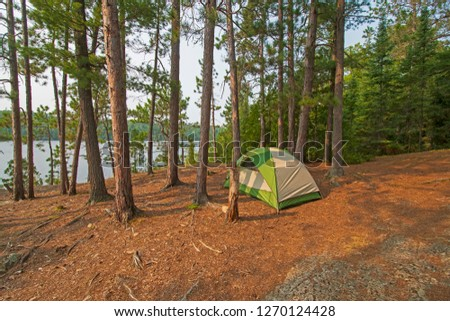Quiet Campsite on Bell Lake  in the  North Woods of Quetico Provincial Park in Ontario #1270124428