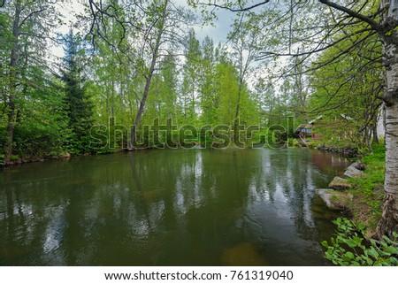 Quiet forest river Vaaksynjoki in Asikkala, Finland.